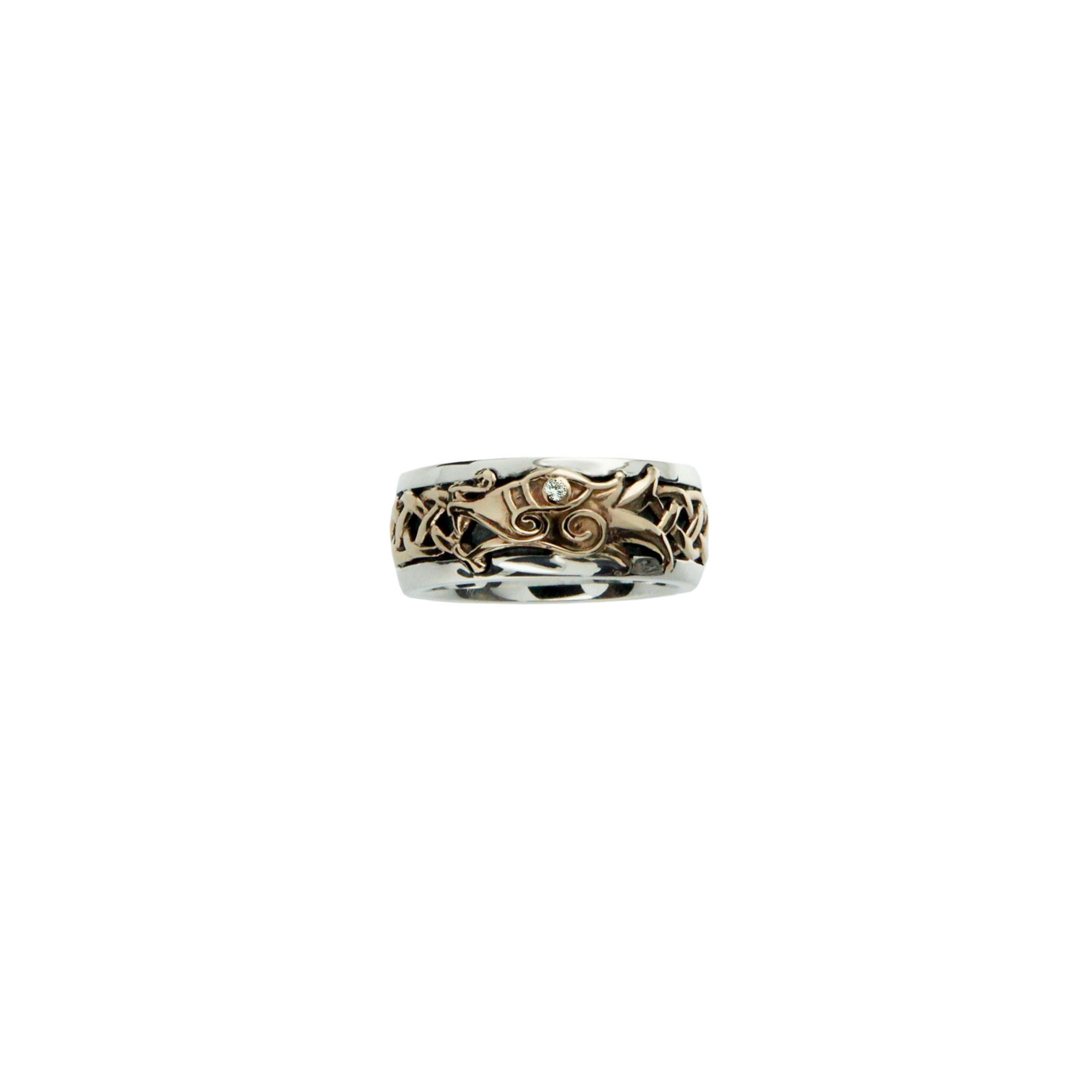 Silver and Gold Dragon Ring
