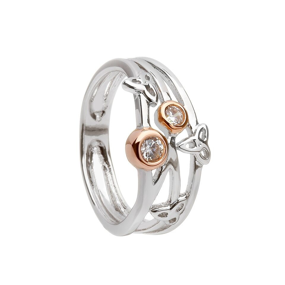Trinity Knot Ring With CZ in Rose Gold