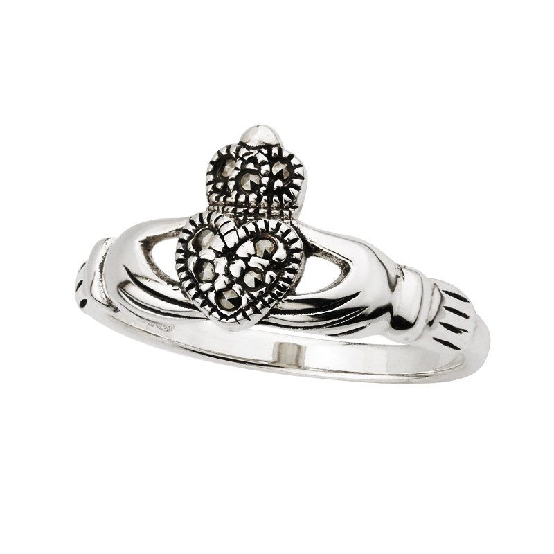 Solvar Jewelry Sterling Silver Marcasite Claddagh Ring