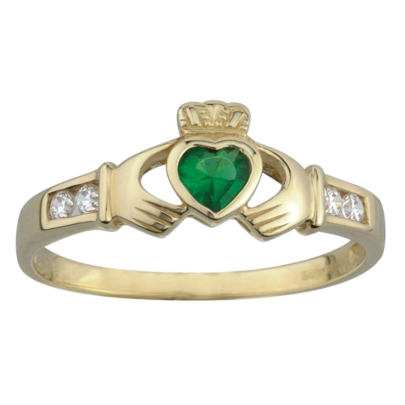 Solvar Jewelry Gold Claddagh Ring with Emerald Stone