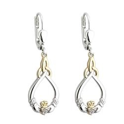 Gold and Silver Claddagh Earrings with Diamonds