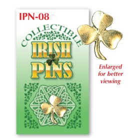 Irish Shamrock Lapel Pin Brass