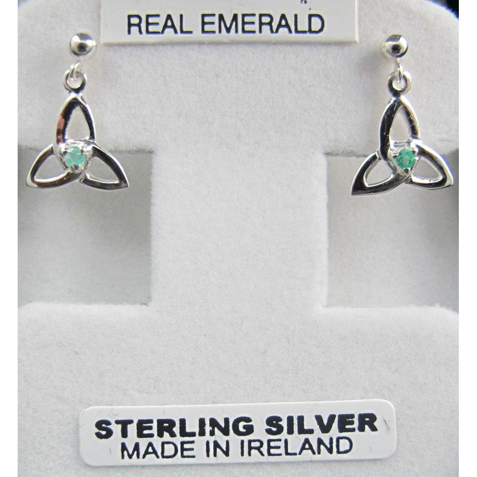 Trinity Earrings with Real Emerald Sterling Silver