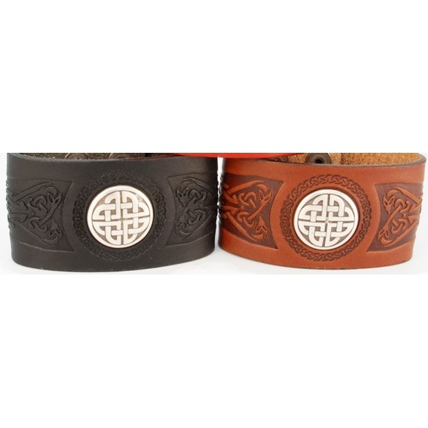 Celtic Leather Cuff from Ireland (Wide)
