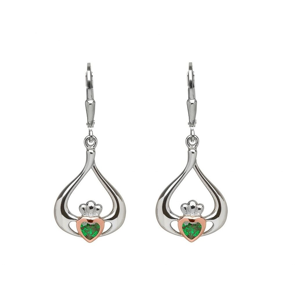 Claddagh Earrings with Emerald CZ