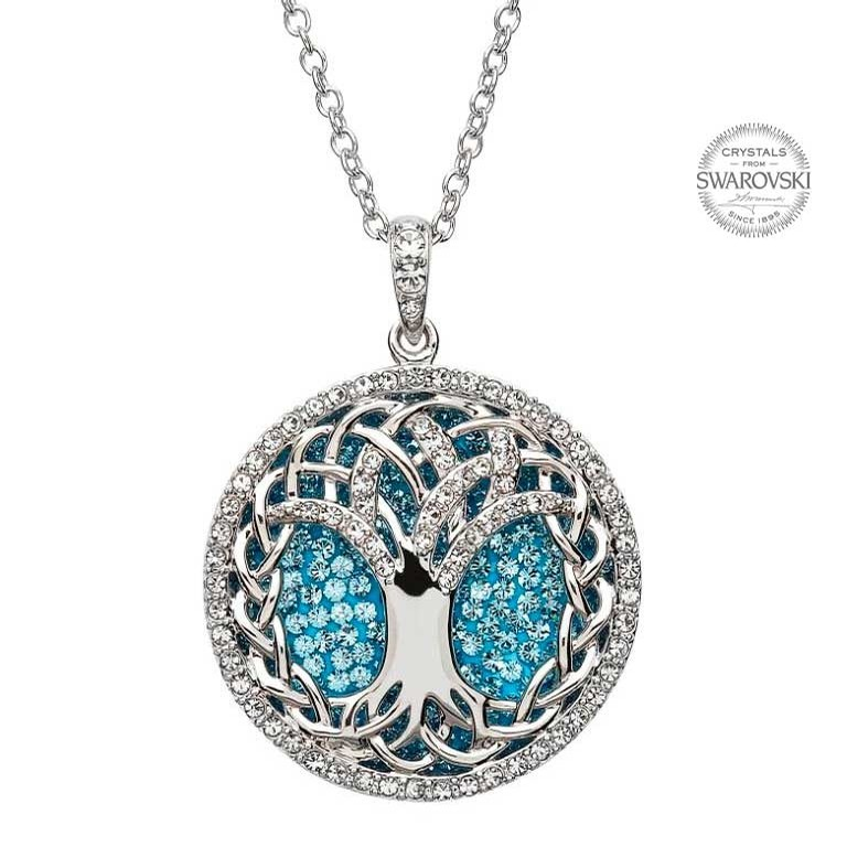 Tree of Life Pendant with Aqua Crystal