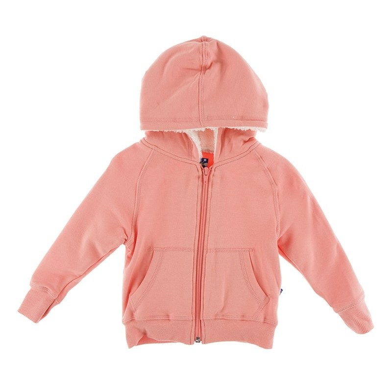 Fleece Zip-Front Hoodie with Sherpa-Lined Hood