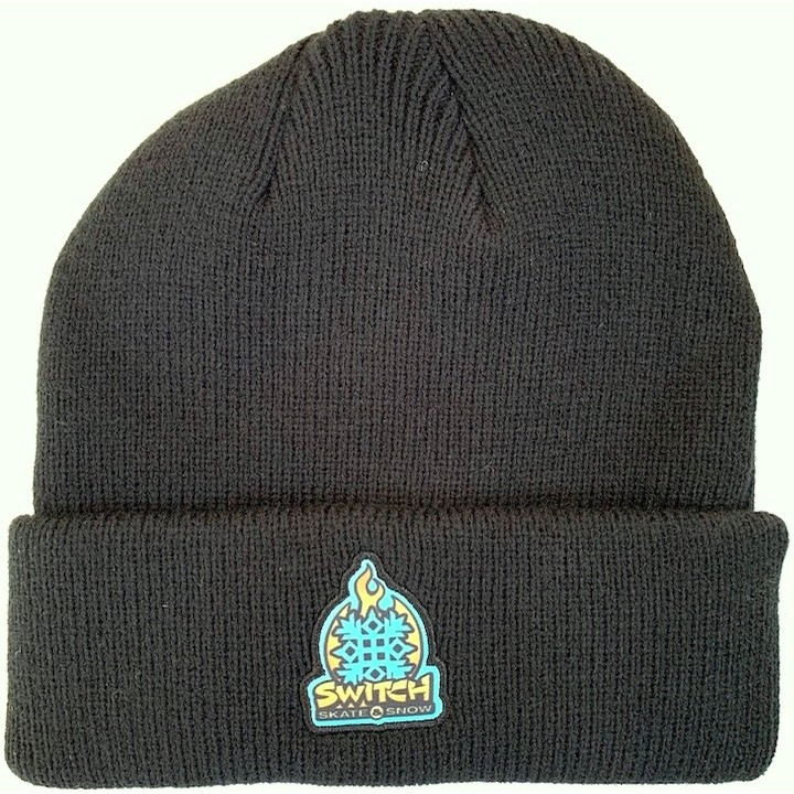 Flame Logo Patch Beanie (Black)