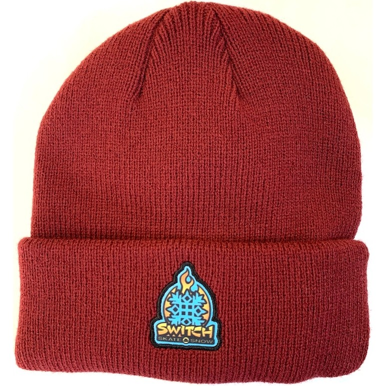 Flame Logo Patch Beanie (Crimson)