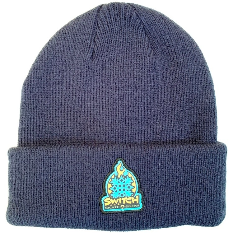 Flame Logo Patch Beanie (Navy)