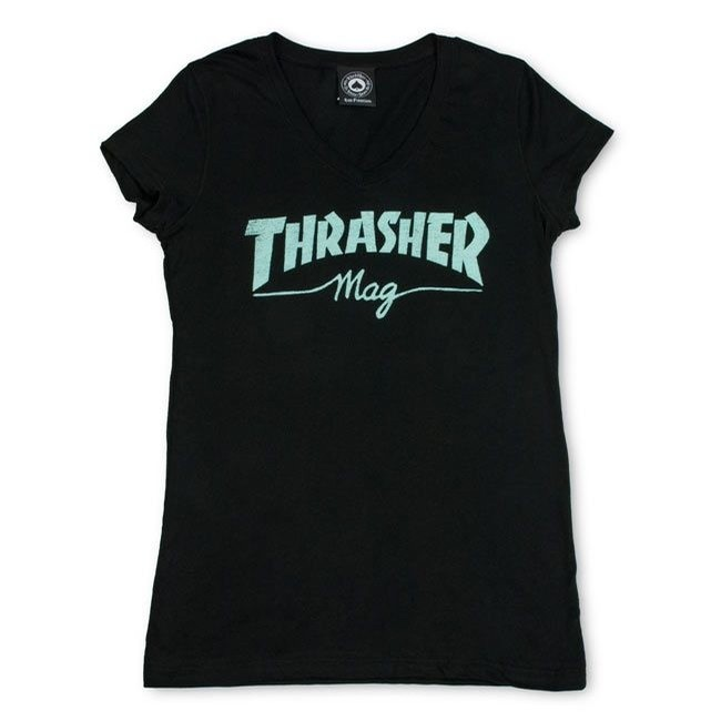 Girls Mag Logo Black V-Neck Tee