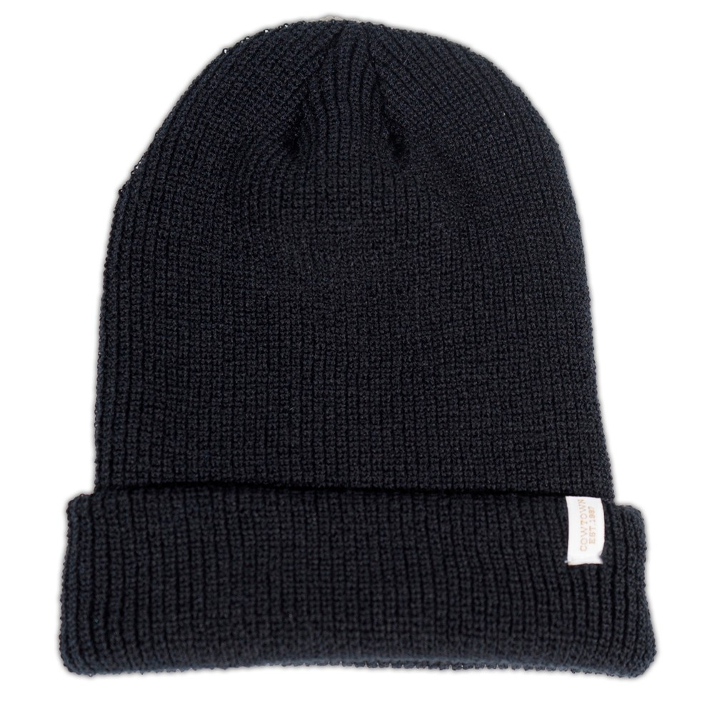 Clip Label Knit Beanie (Black)