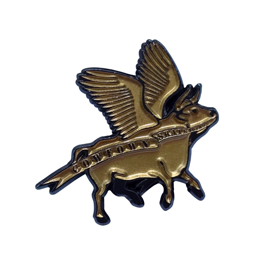 Flying Cow Enamel Pin (Gold/Black)