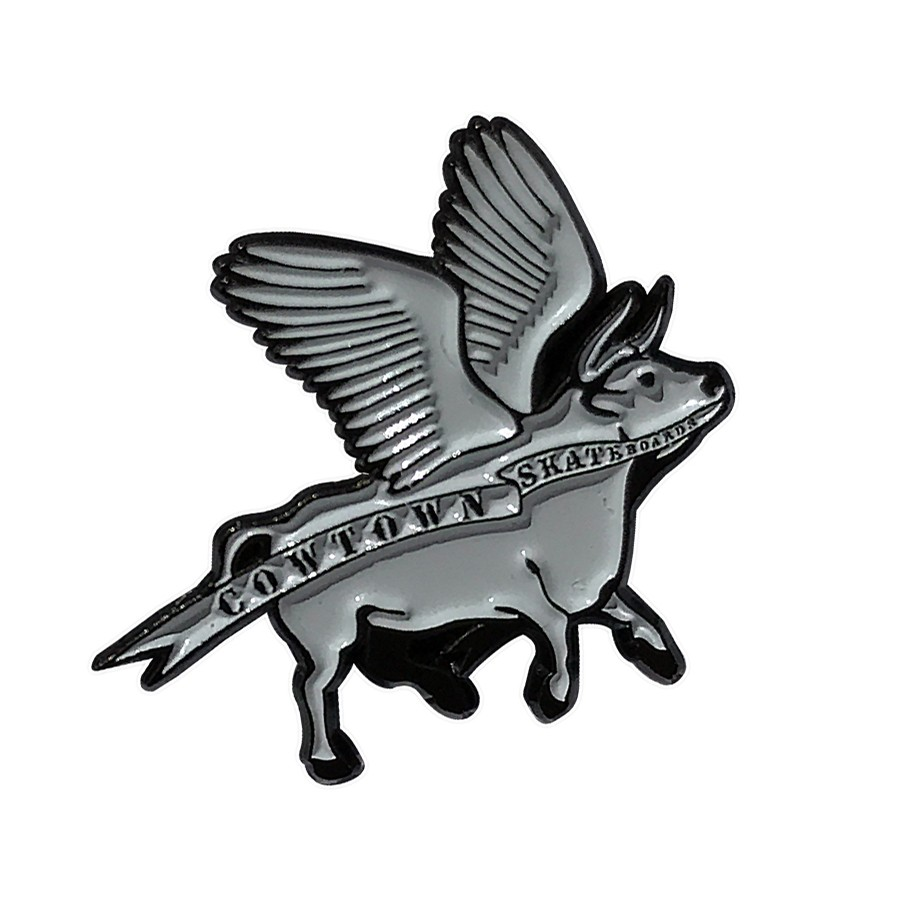 Flying Cow Enamel Pin (White/Black)