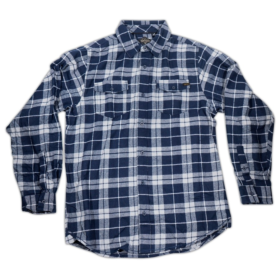 True Grit Woven Plaid Flannel (Navy/Grey)