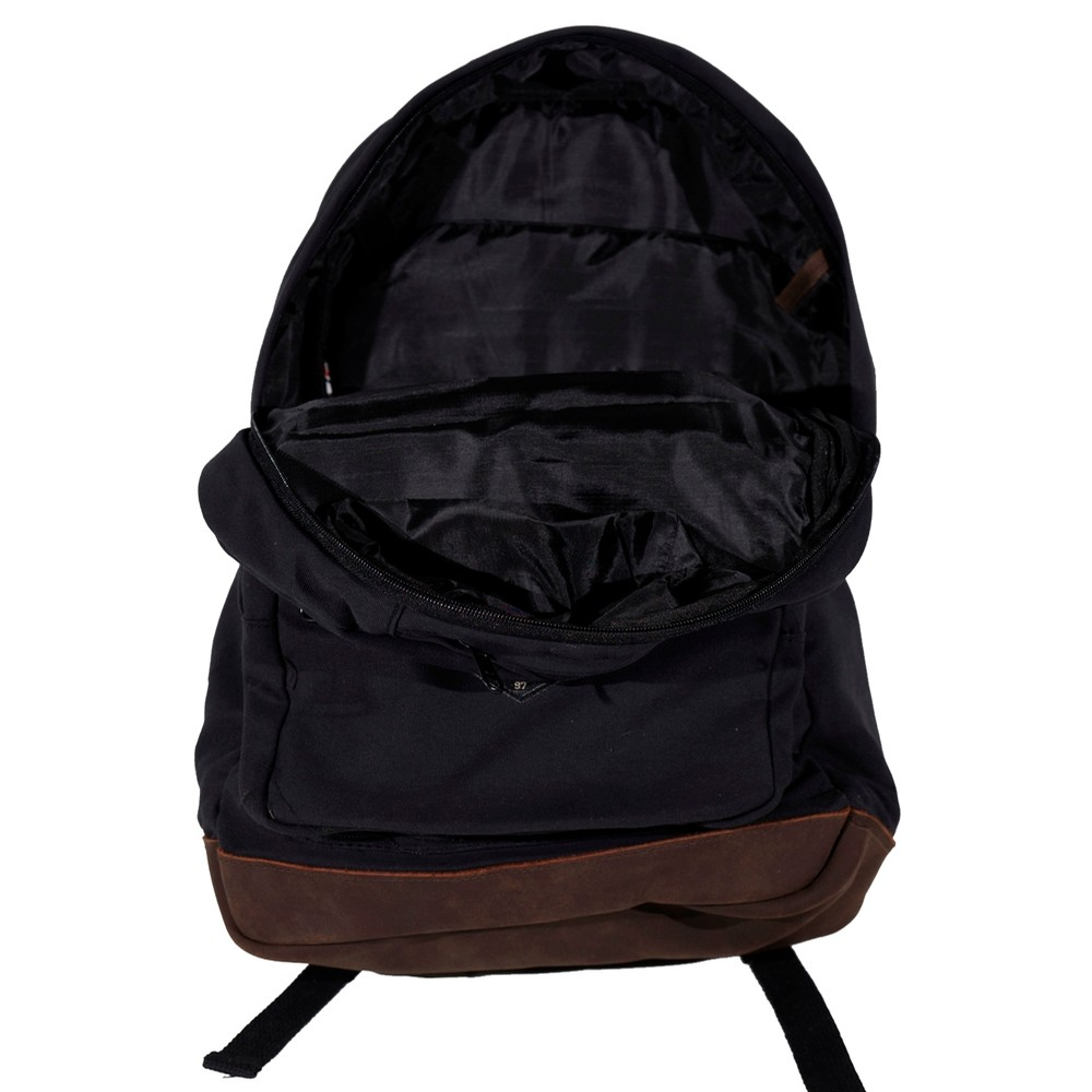 Canvas and Leather Backpack (Black)