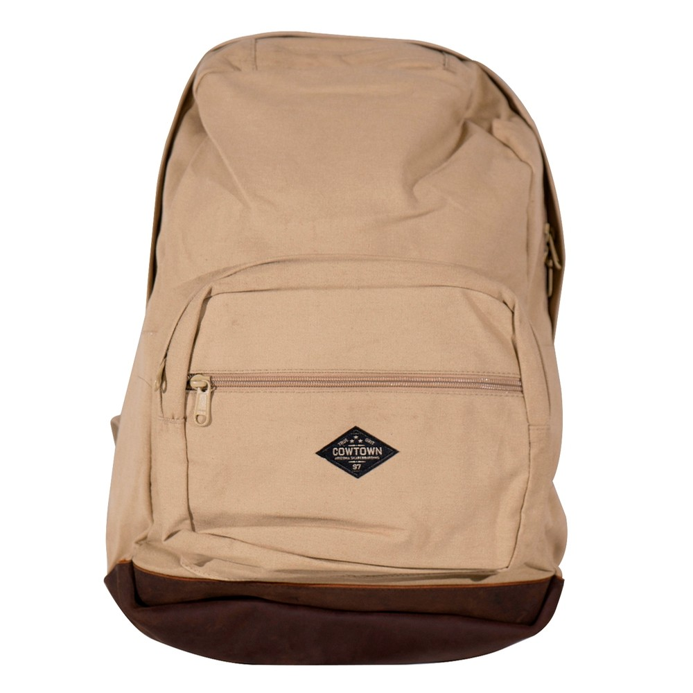 Canvas and Leather Backpack (Khaki)