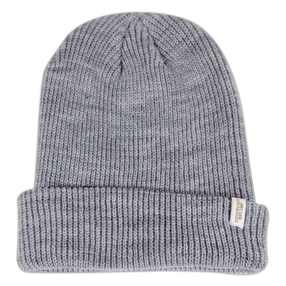 Clip Label Knit Beanie (Heather Grey)