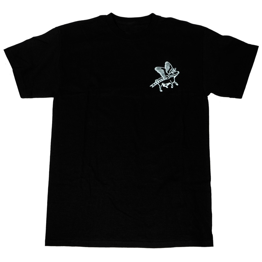 Cowtown Flying Cow Outline Tee (Black/White)
