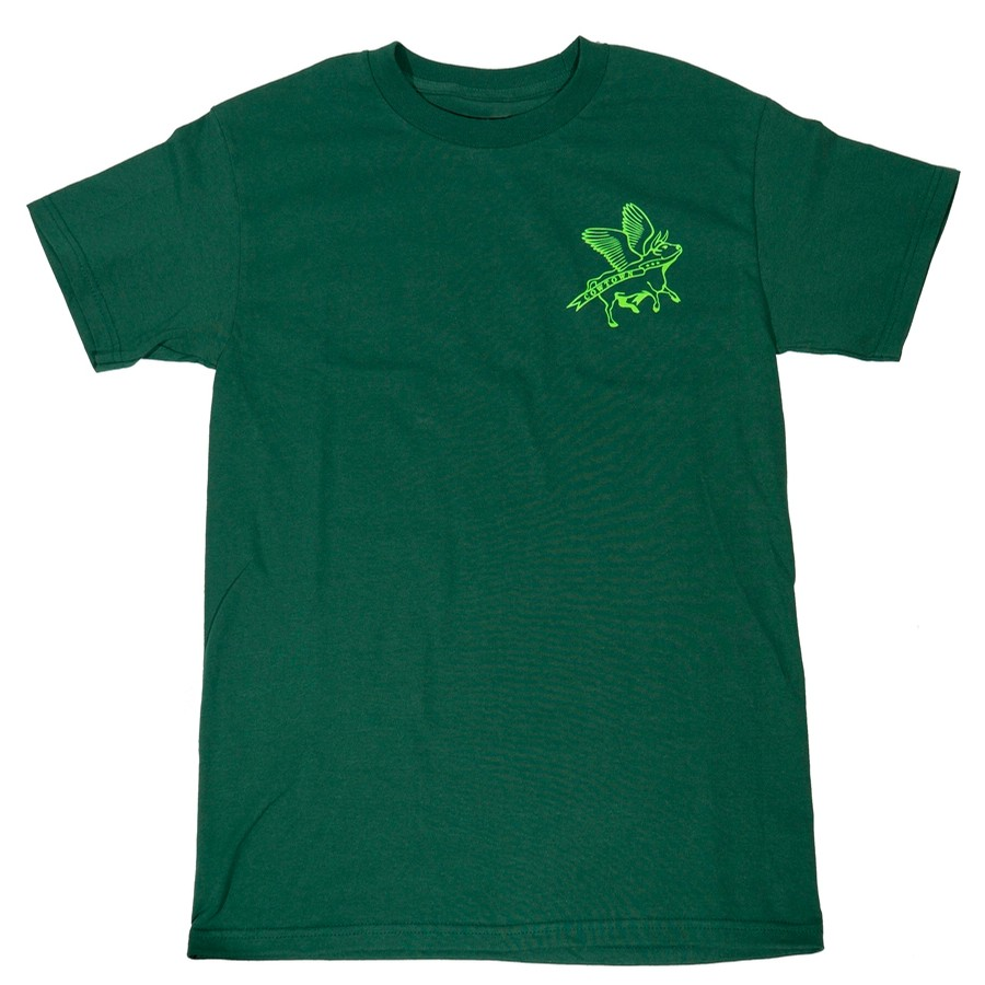 Flying Cow Outline Tee (Forest Green/Lime Green)