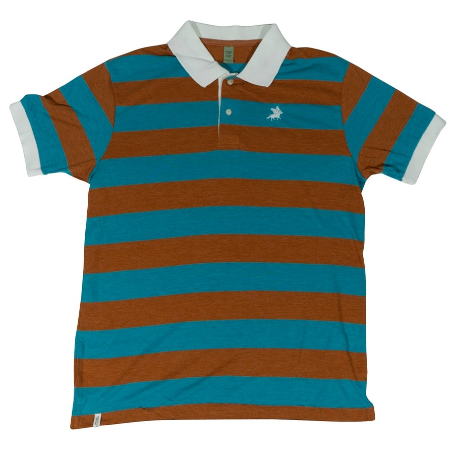 Embroidered Stripe Polo (Turquoise/Brown)