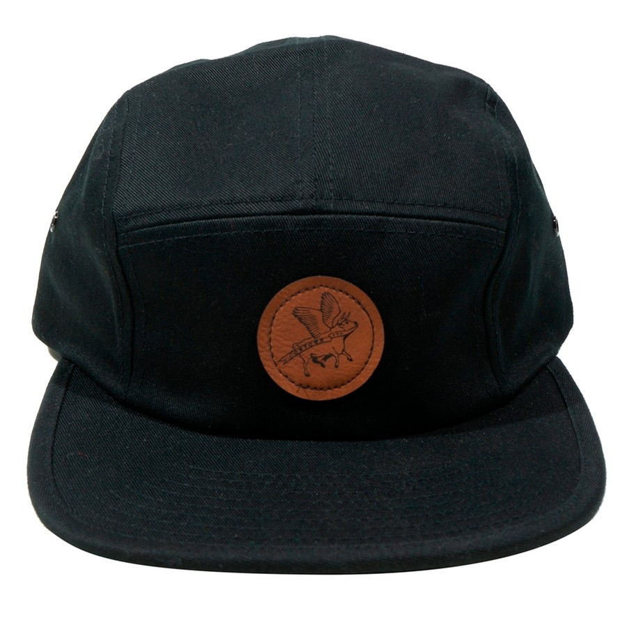 Circle Flying Cow Patch Jockey Cap (Black)