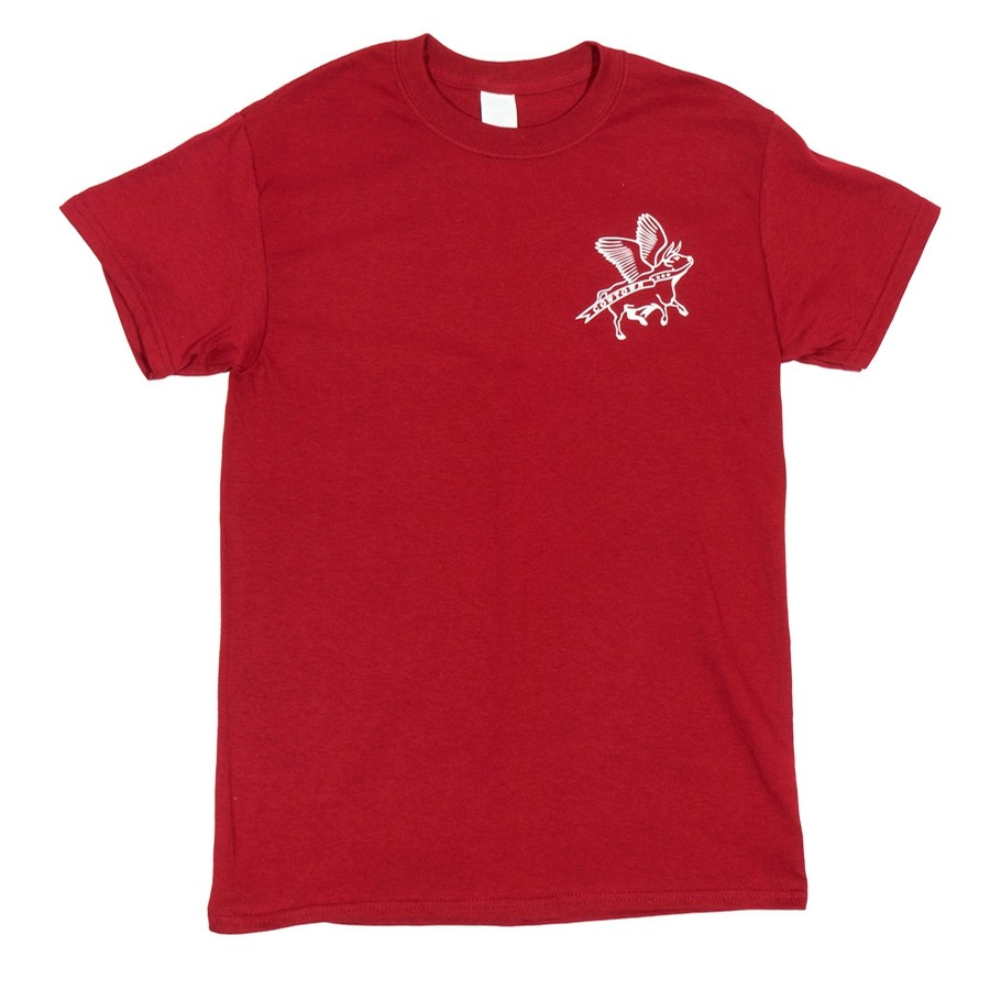 Flying Cow Outline Tee (Garnet/White)