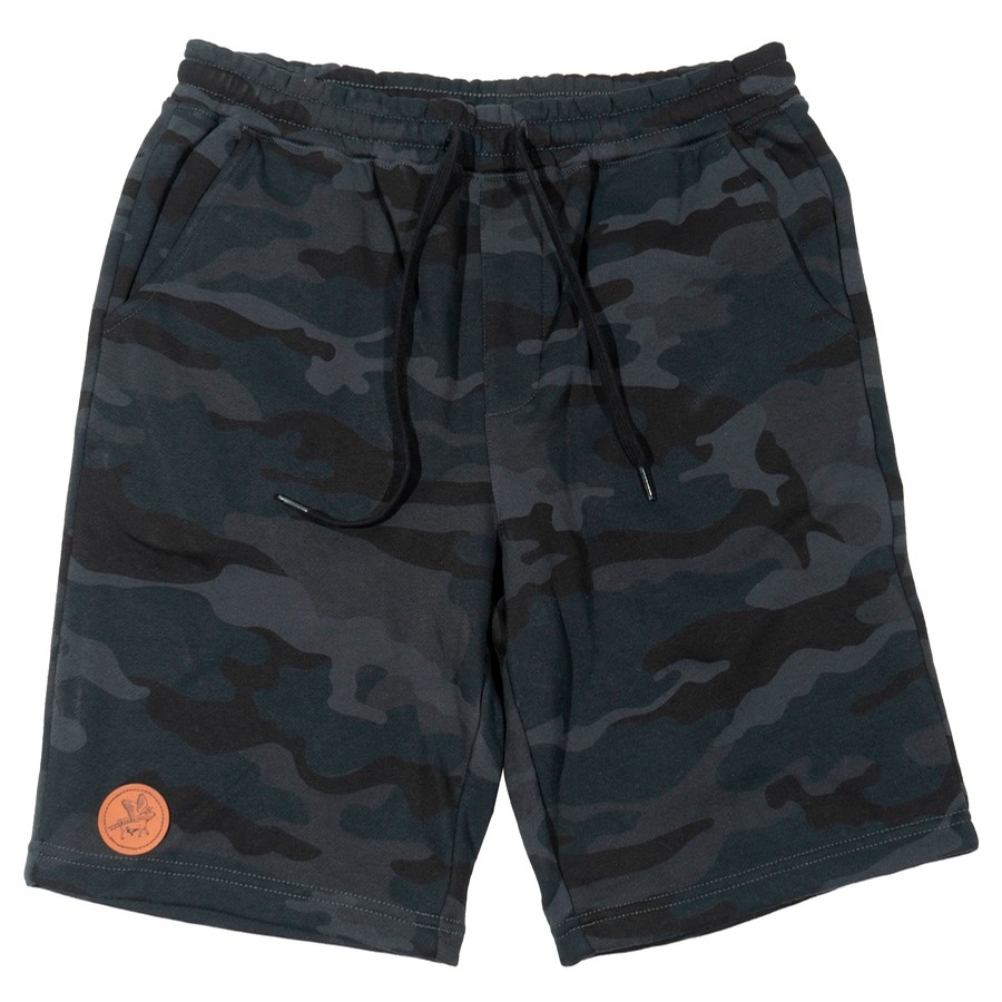 Circle Flying Cow Patch Sweatshort (Black/Camo)
