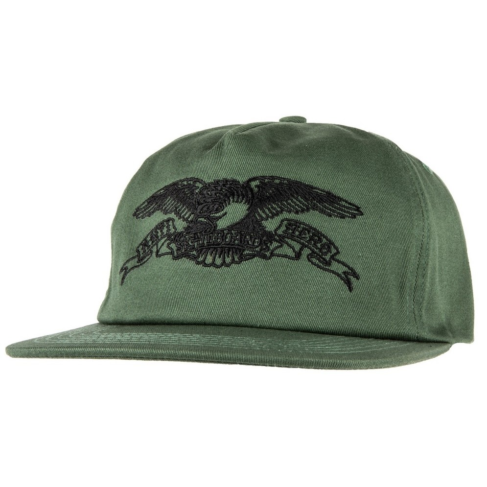 Basic Eagle Snapback Hat (Dark Green/Black)