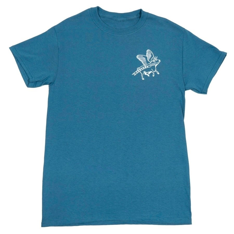 Flying Cow Outline Youth Tee (Indigo/White)