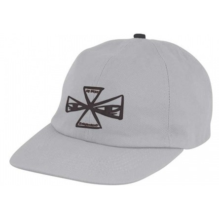 Barbee Cross Unstructured Low Strapback Hat (Light Grey)
