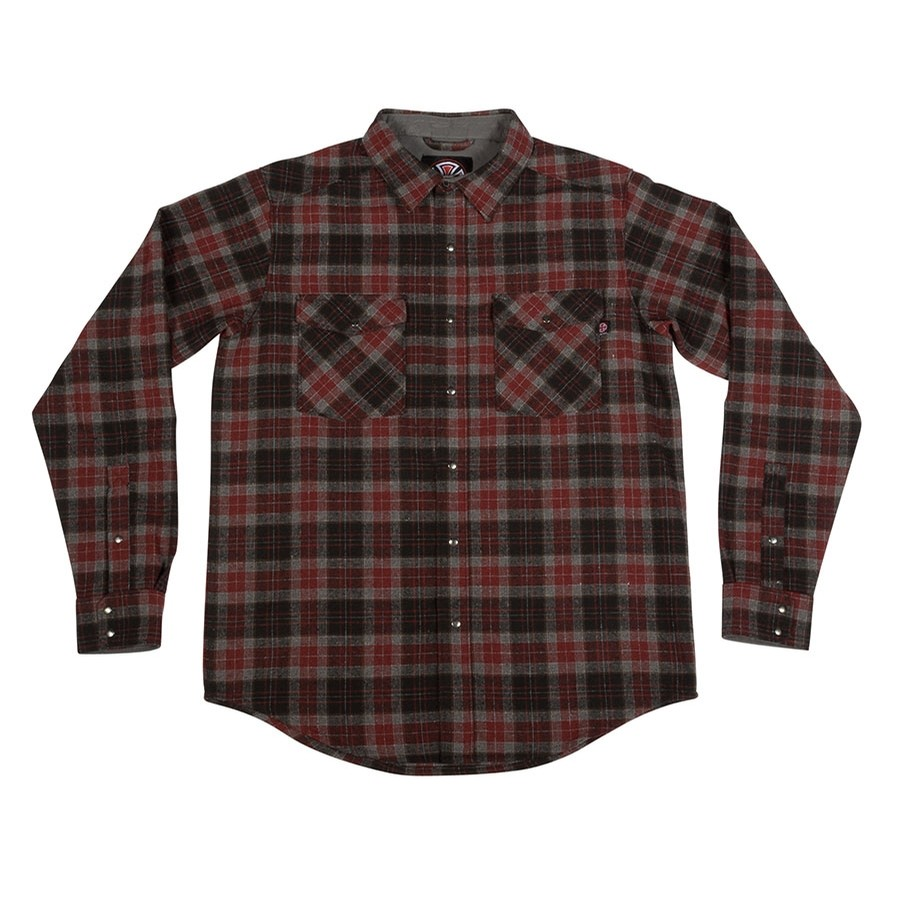 Mill L/S Button Up Top (Burgundy Plaid)