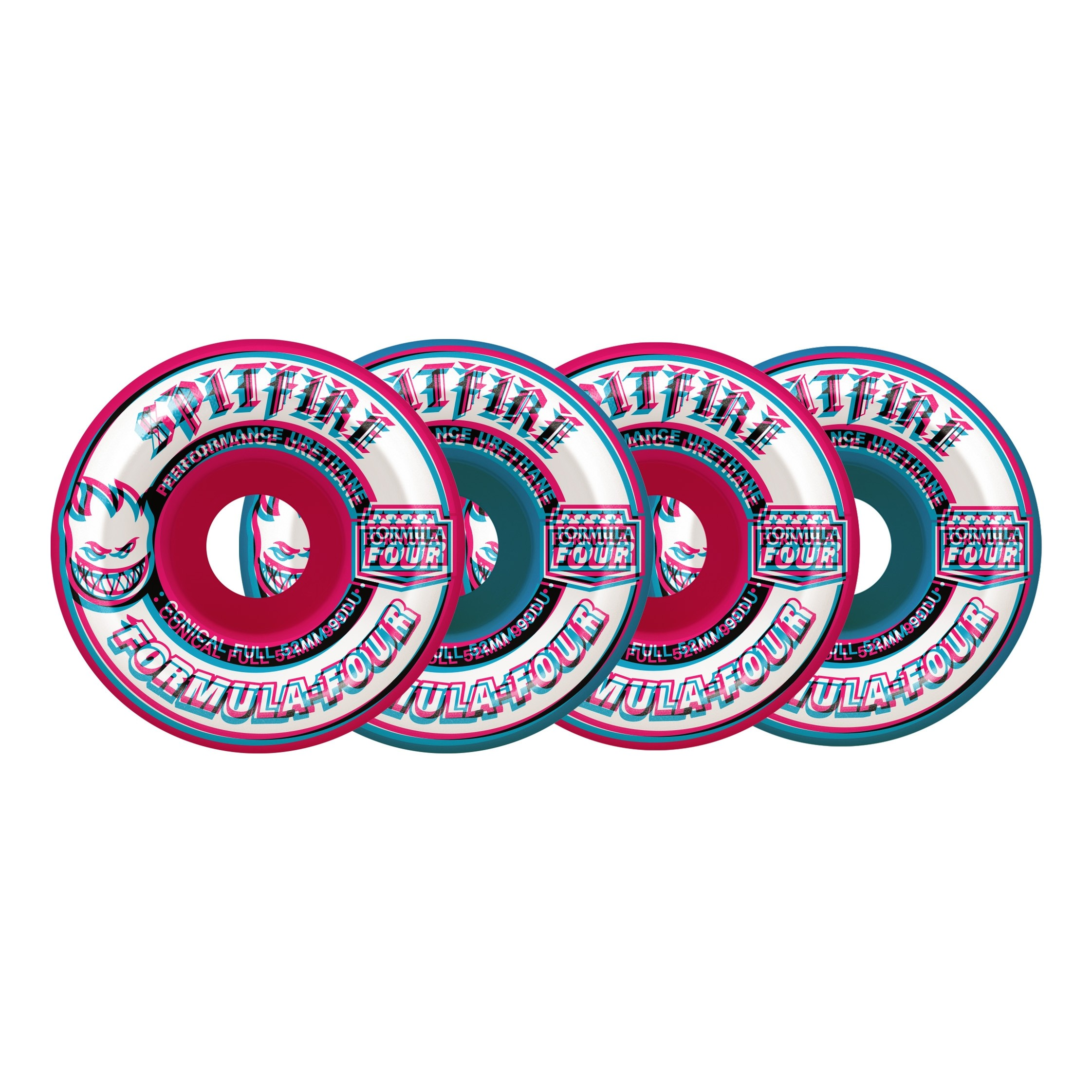F4 99 Overlay Conical Full Mashup Wheels (Pink/Blue)