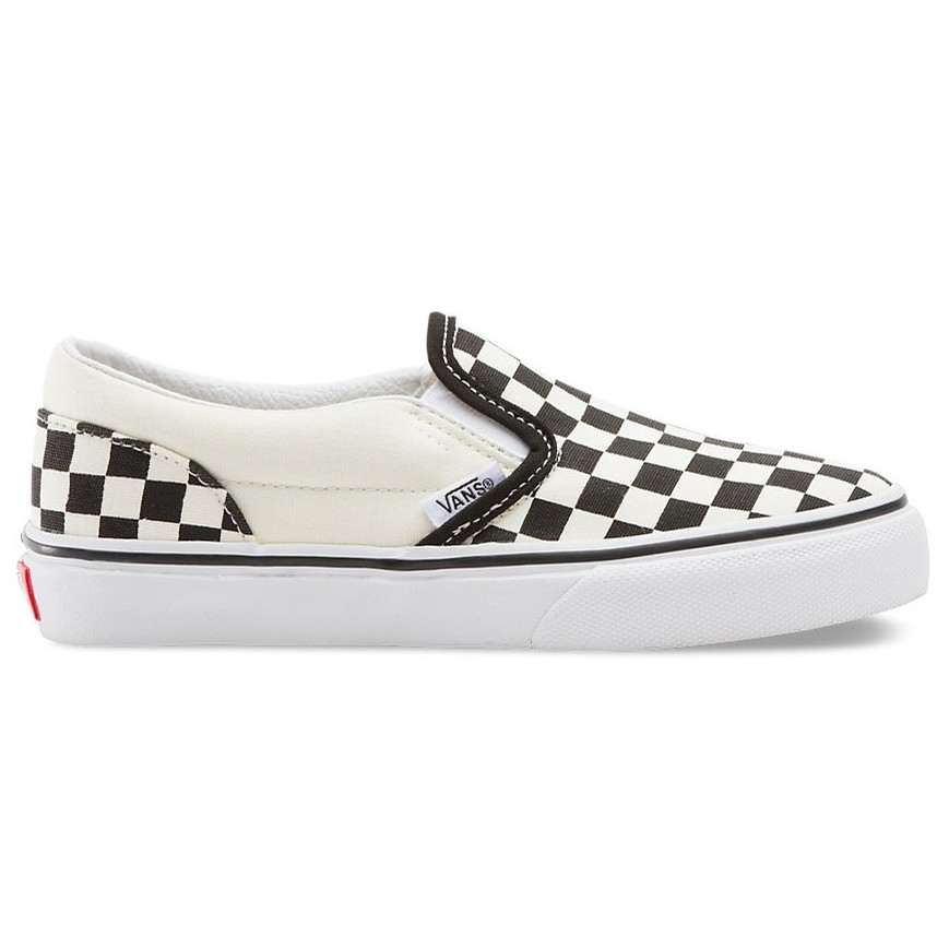 Kids Classic Slip-On (Checkerboard) Black/White